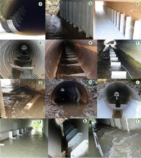 A series of experimental box culverts that allow fish to travel between water sources