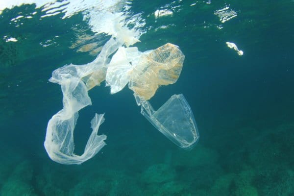 Plastic rubbish garbage pollution in ocean causes environmental problem