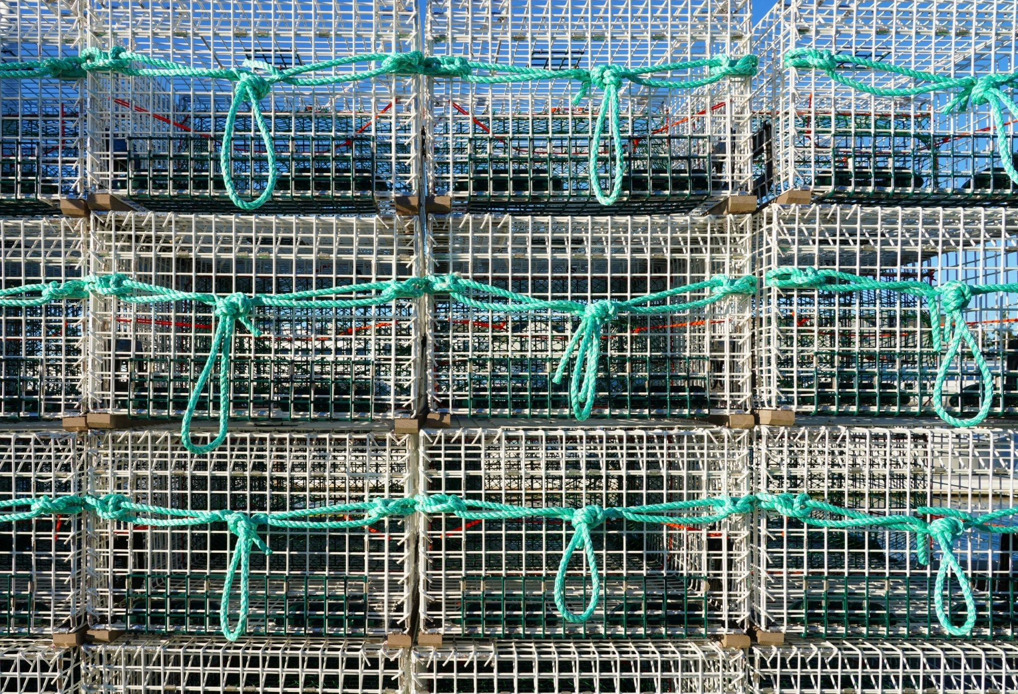 View,Of,Stacks,Of,Lobster,Traps,In,Maine,,United,States
